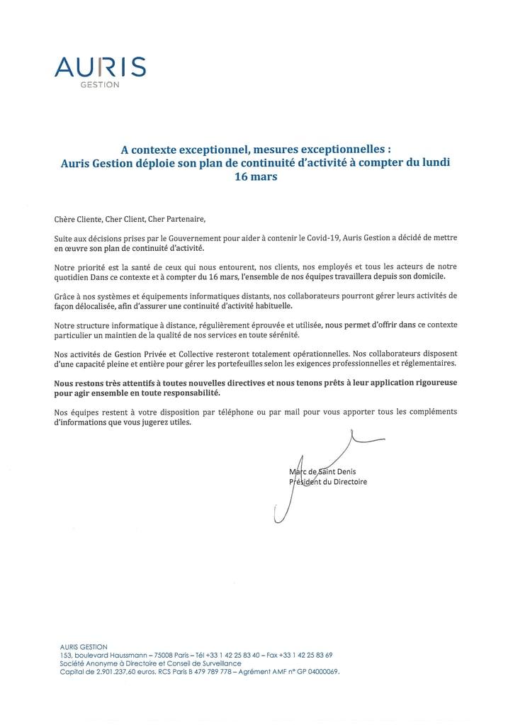 Communiqué Auris COVID19-1